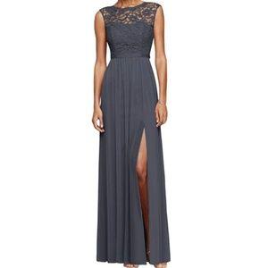 David's Bridal Long Dress Lace Bodice Sz 6